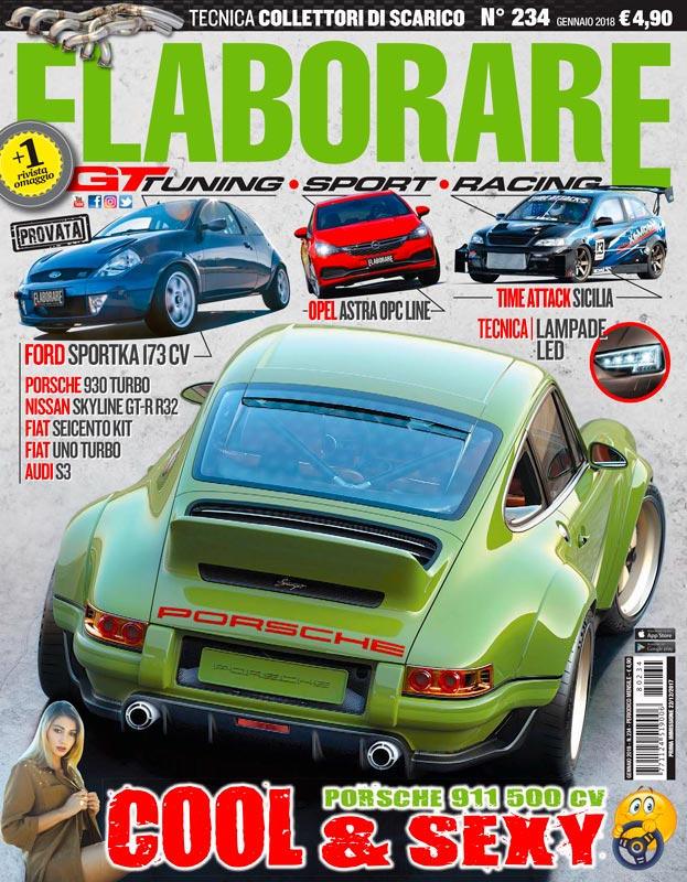 """Restomod su ELABORARE numero n.234 di gennaio 2018 nella Rubrica """"Top Car Auto"""" dove è stata presentata la bellissima Porsche 911 DLS"""